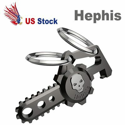 Hephis Skull Car Keychain Plus with Dual Rings for Men Bottle Opener Key Ring US