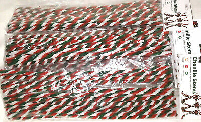 Chenille Stem Candy Stripe - Pack 25 - Red / Green / White Stripe