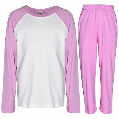 Kids Girls Pyjamas Designer Plain Baby Pink Contrast Sleeves Nightwear PJS 2-13Y