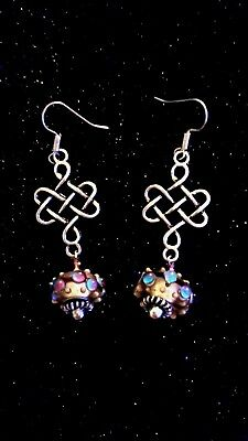 Murano Glass Dot Bead Celtic Knot Handcrafted Earrings
