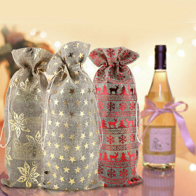 12pcs Linen Drawstring Burlap Wine Bottle Bag Cover Red Wine Packaging Bag Gift