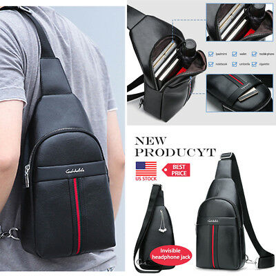 81c1f3794f Men s Sling Bag With USB Charging Chest Pack Crossbody Shoulder Bags Travel
