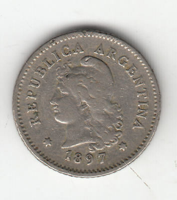 Argentina 10 Cents 1897 Liberty       44J        By Coinmountain