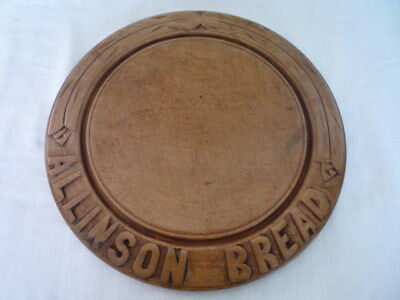 Old Advertising Allinson Bread Carved Wooden Bread Board English Kitchenalia