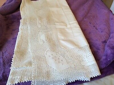 """Vintage tablecloth.white embroidered with 6"""" crochet edge.tea pot/cups.46"""".lot16"""