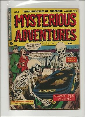 Mysterious Adventures 9 F/G 1.5 Skeleton Cover Pre-Code Horror 1952