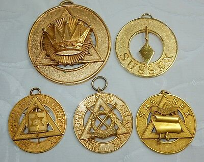 VINTAGE MASONIC COLLECTION PROVINCIAL ROYAL ARCH COLLAR JEWEL LOT GROUP x 5