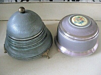 Vintage Two Victorian Footed Aluminum Wind-Up Music Box Powder Boxes