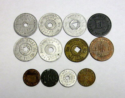 Lot of 12 Circulated US Tax Tokens From Different States