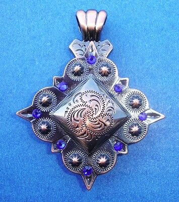 """Western Cowgirl Jewelry Square Antique Copper Crystal 1 1/2"""" Concho Pendant Kit"""