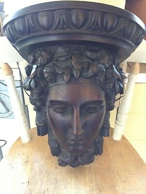 LOVELY  Hand Carved  Wooden Head OF A GODDESS