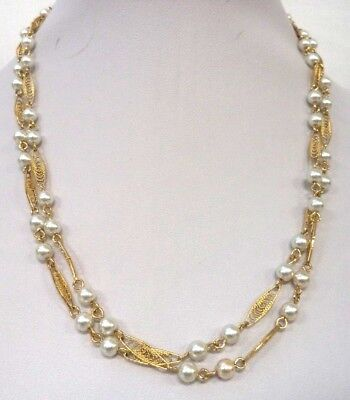 "Stunning Vintage Estate Signed Trifari Gold Tone Faux Pearl 36"" Necklace!! 1690M"