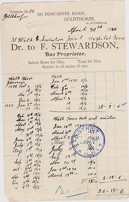 Billhead Invoice Nr Rotherham Goldthorpe Stewardson Bus Proprietor 1930 Worn