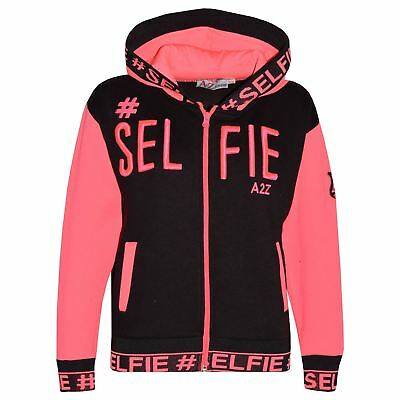 Kids Girls Jacket #Selfie Embroidered Neon Pink Zipped Top Hooded Hoodie 5-13 Yr
