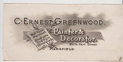 Billhead Invoice Mansfield C Ernest Greenwood Painter Decorator White Hart St