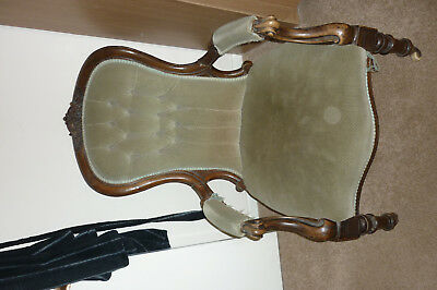 Victorian Armchair, Antique walnut  Carved Armchair, Green Upholstery Furniture