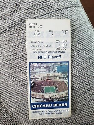 1988 FOG BOWL Soldier Field EAGLES BEARS Chicago TICKET STUB PSA Authentic