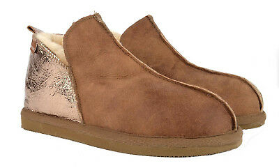 ab56cb1c8e6 Ladies Shepherd Genuine Sheepskin Annie Slipper Boots Hard Sole Brown Gold