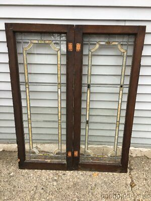 "2 of 3 Antique Stained Leaded Glass Transom Window / Cabinet Door 45"" by 18"""