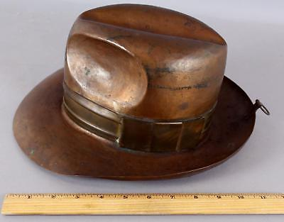 Antique 1930/40s Arts & Crafts Hammered Copper & Brass Mans Fedora Hat, NR