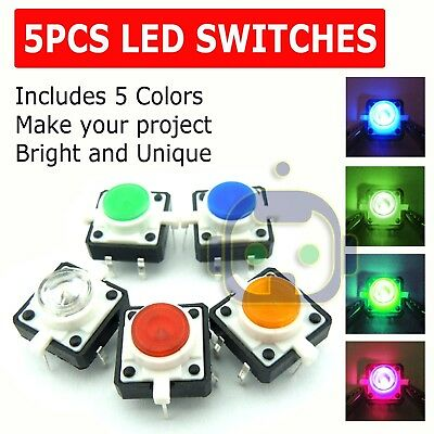 5x Led Light Tactile Push Button Switch Momentary Cap