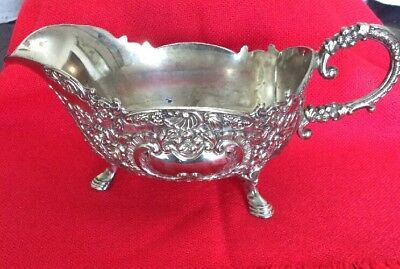 antique Repousse Sauce / Gravy Boat silverplate