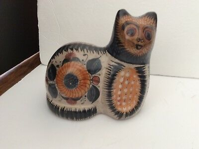 Large Vintage Mexican Tonala Burnished Pottery Cat