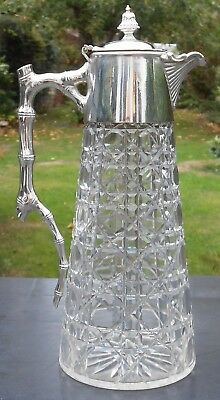 Superb Aesthetic Movement Claret Jug - Hobnail Cut Glass Silver Plated