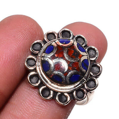 Tibetan Lapis,Coral Gemstone 925 Sterling Silver Plated Ring Size-7.5 RR-38799