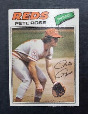 1977 Topps Cloth Stickers #38 PETE ROSE (RARE) 2 Star Short Print **1 CENT BID**