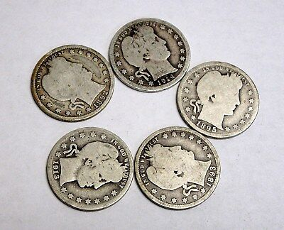 Lot of 5 Worn Silver Barber Quarters with Mintmarks
