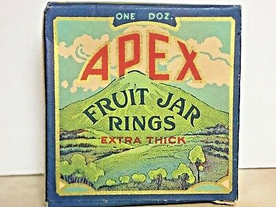 Vintage APEX FRUIT JAR RINGS Beautiful Graphics antique country store box