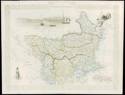 """1850 Original Illustrated Antique Map """"TURKEY IN EUROPE""""  by Tallis (204d)"""