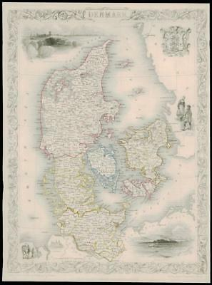"""1850 Illustrated Original Antique Map of """"DENMARK""""  by Tallis (83d)"""