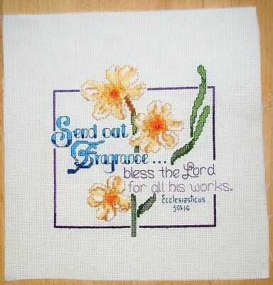 ECCLESIASTICUS 39:14 16 count aida COMPLETED COUNTED CROSS STITCH  HANDMADE