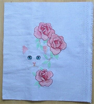 Cats And Flowers Enchanted Garden - Completed Counted Cross Stitch