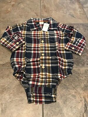 BABY GAP TODDLER BOY PLAID FLANNEL LONG SLEEVE SHIRT Blue/RED/yellow 18-24M NWT