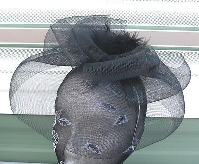 black feather fascinator millinery burlesque headband wedding hat race ascot 1