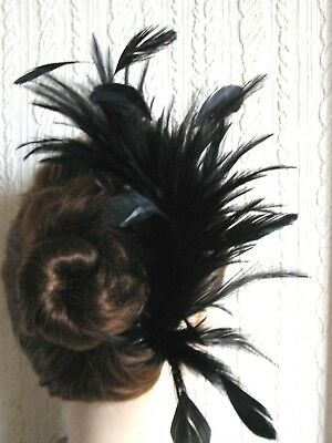 black feather comb fascinator millinery wedding hat x