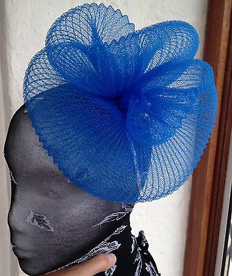 Blue fascinator millinery burlesque wedding hat hair piece ascot race bridal 1