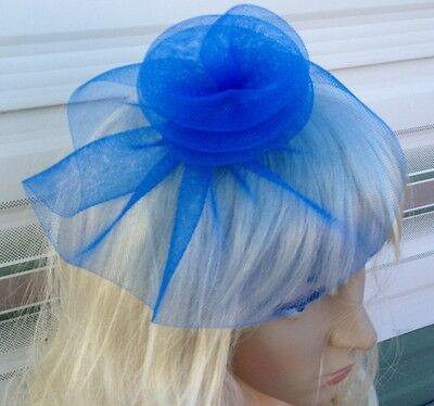 blue fascinator millinery feather brooch clip wedding hat bridal ascot race