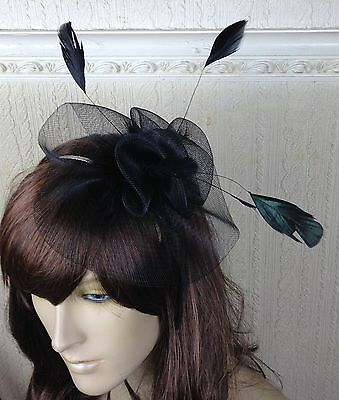 black netting feather hair headband fascinator millinery wedding hat ascot