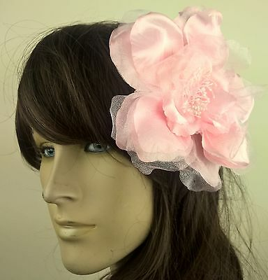 baby pink satin flower fascinator millinery burlesque wedding hat bridal race x