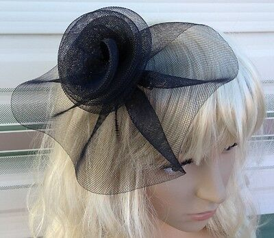 black fascinator millinery feather brooch clip wedding hat bridal ascot race