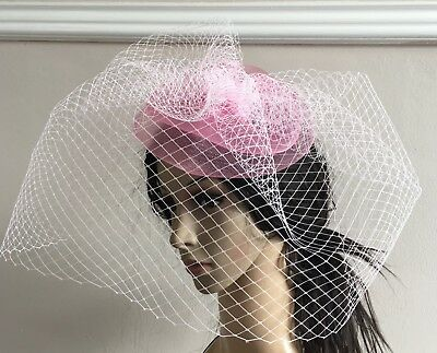 baby pink french veil veiling fascinator wedding bridal hair clip hat race ascot