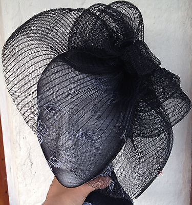 black fascinator millinery burlesque wedding hat hair piece ascot race bridal x