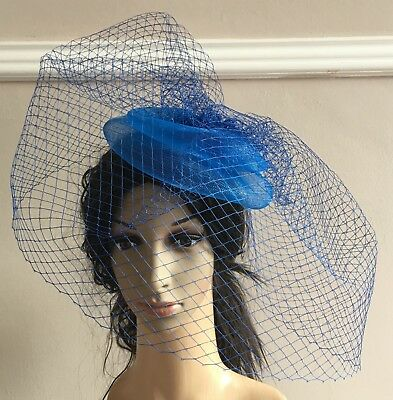 blue french veil veiling fascinator wedding bridal hair clip hat race ascot