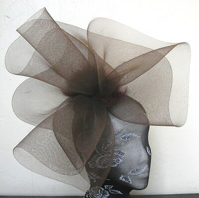 brown feather fascinator millinery burlesque headband wedding hat hair piece