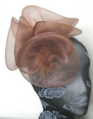 brown tan feather fascinator millinery burlesque headband wedding hat hair