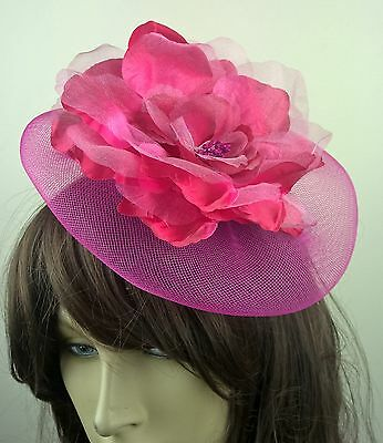bright pink satin flower fascinator millinery burlesque wedding hat bridal